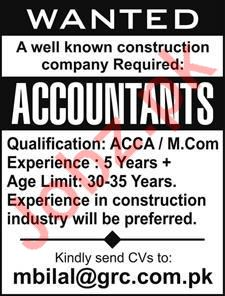 Accountant Jobs in Construction Company