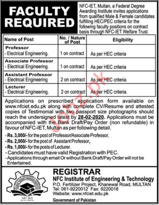 NFC Institute of Engineering & Technology Faculty Jobs 2020