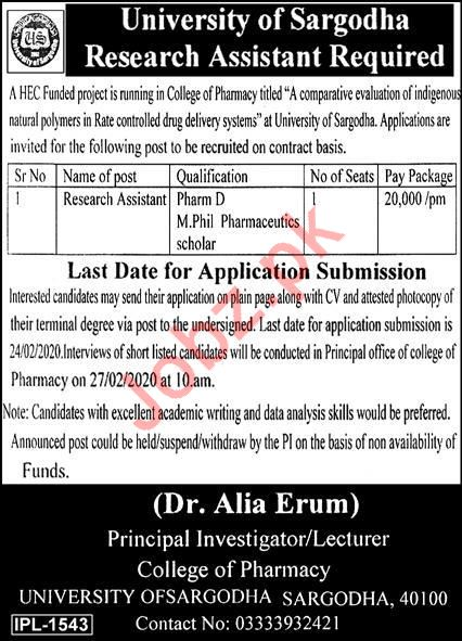Research Assistant Jobs in University of Sargodha UoS
