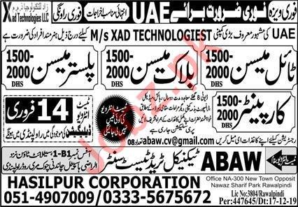 Construction Staff Jobs in MS Xad Technologiest UAE