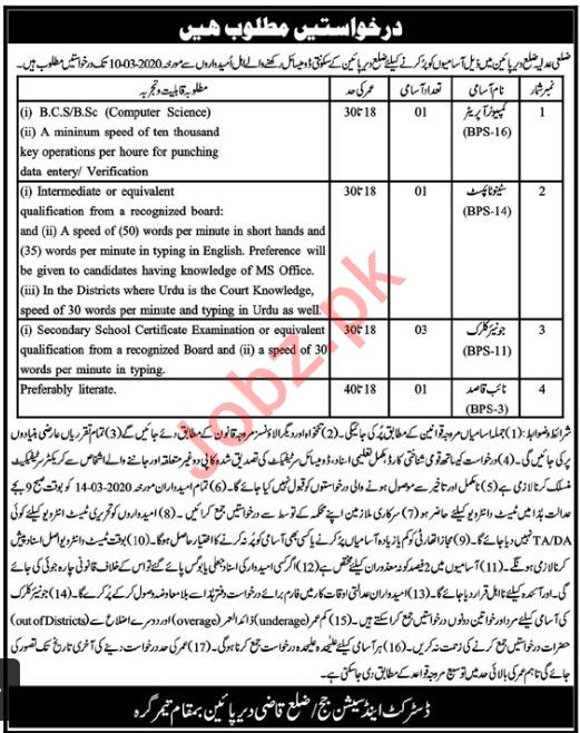 District & Session Court Jobs 2020 in Lower Dir KPK 2020