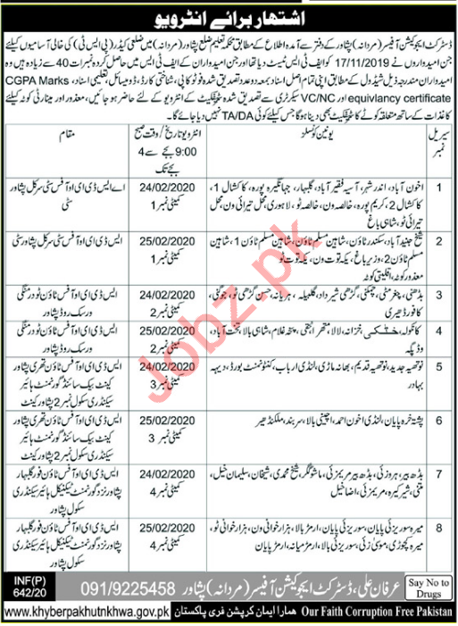 District Education Authority Walk In Interviews 2020