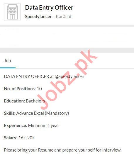 Data Entry Officer Jobs in Speedylancer