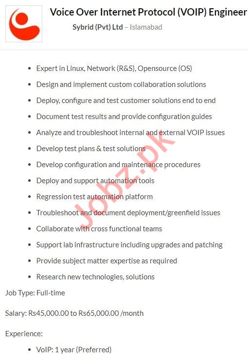 Sybrid Islamabad Jobs 2020 for VOIP Engineer