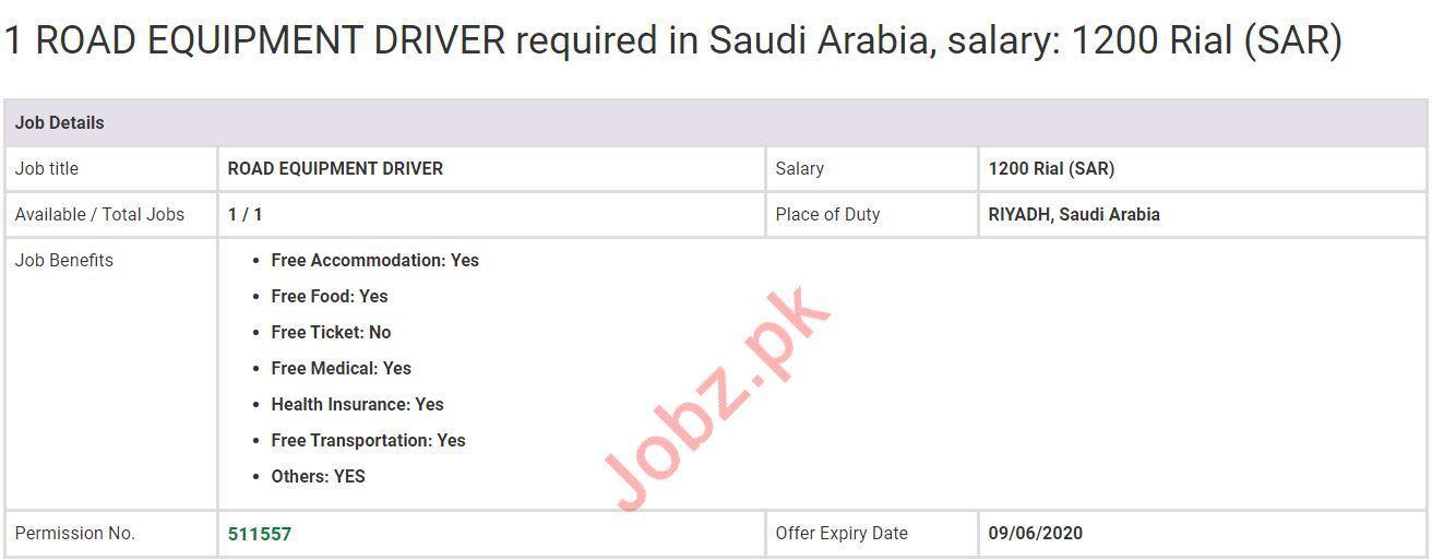 Road Equipment Driver Job 2020 in Riyadh Saudi Arabia