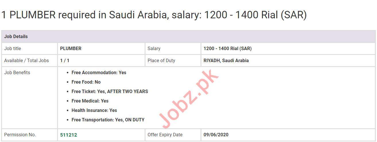 Plumber Job 2020 For Riyadh Saudi Arabia