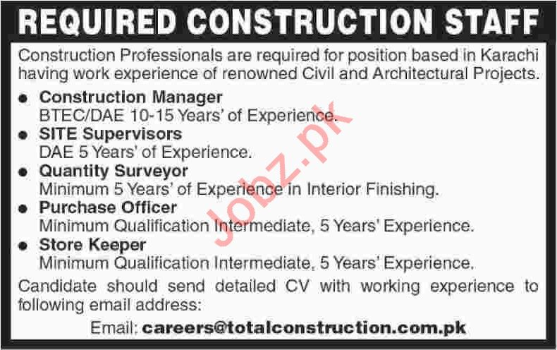 Total Construction Karachi Jobs 2020 for Managers