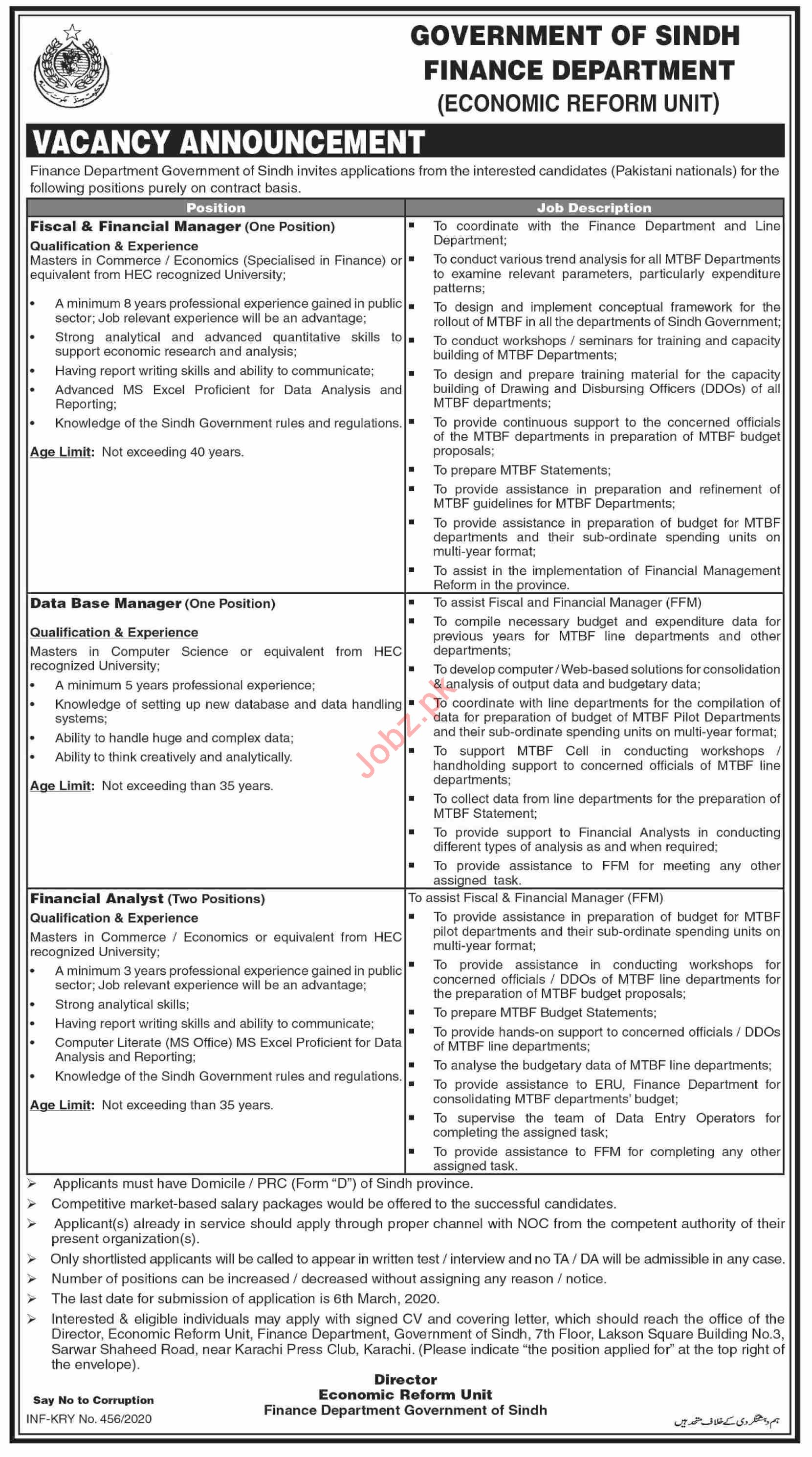 Economic Reform Unit Finance Department Sindh Jobs 2020