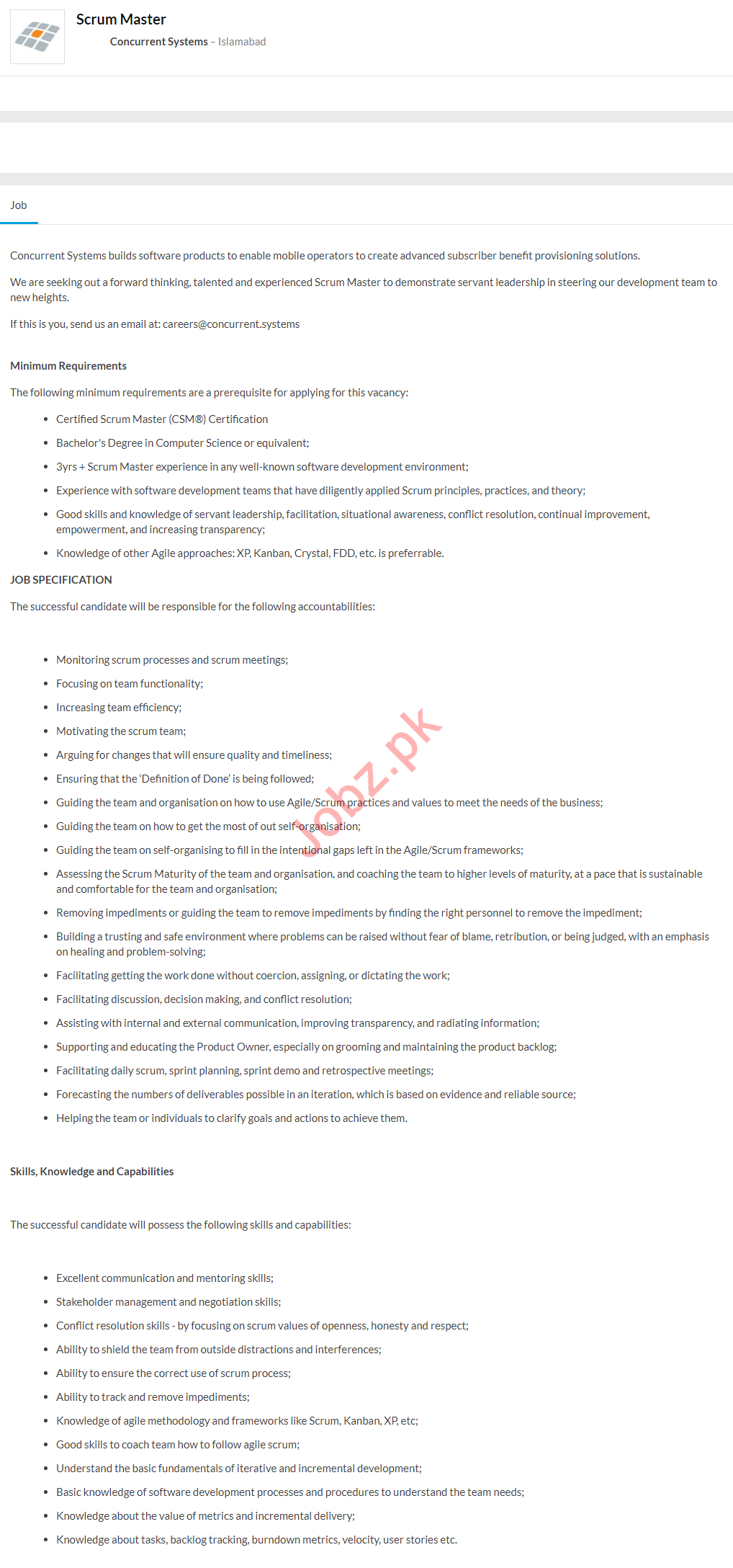 Concurrent Systems Islamabad Jobs 2020 Scrum Master
