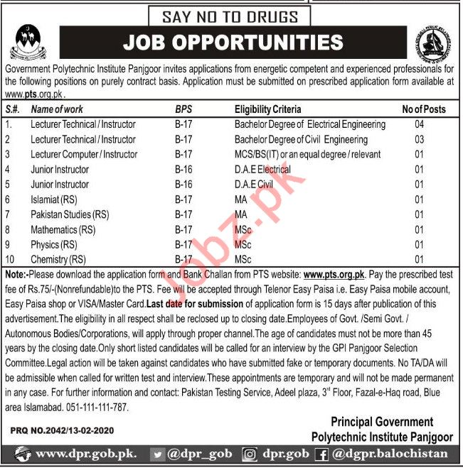 Government Polytechnic Institute Teachign Jobs 2020 via PTS
