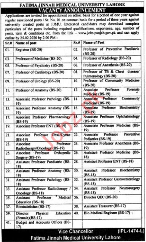 FJMU Fatima Jinnah Medical University Lahore Jobs 2020