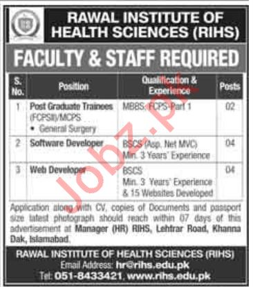 Rawal Institute of Health Sciences RIHS Jobs 2020