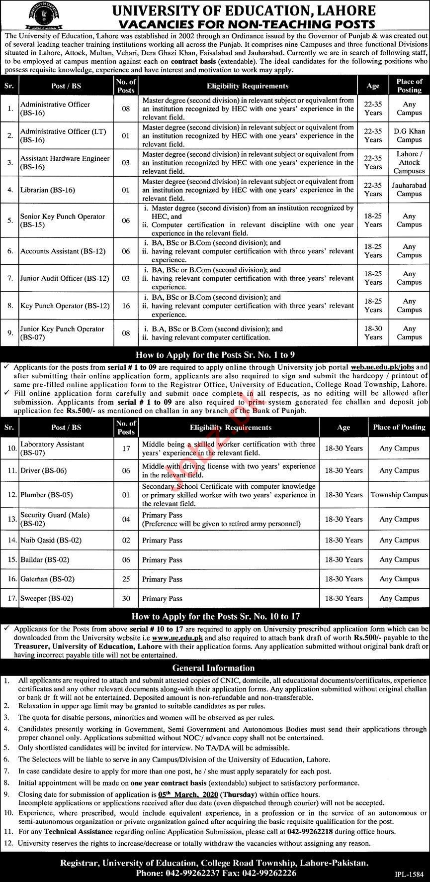 Non Teaching Staff Jobs in University of Education UE