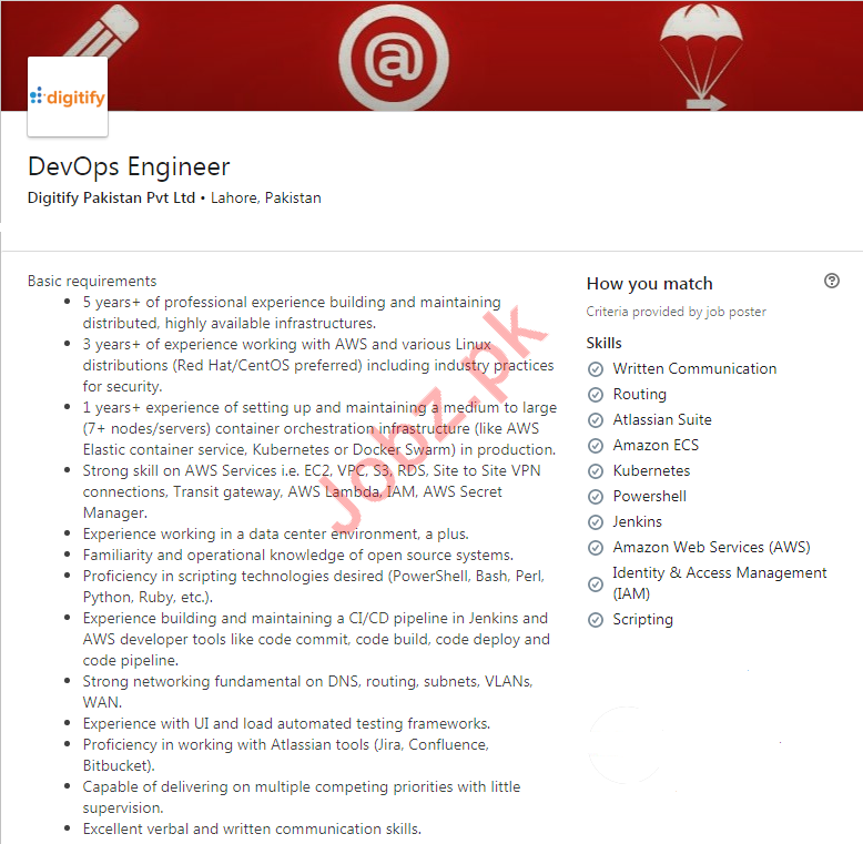 DevOps Engineer Jobs in Digitify Pakistan Limited