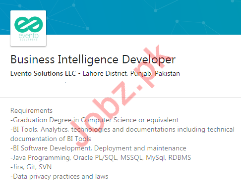 Business Intelligence Developer Jobs in Evento Solutions LLC