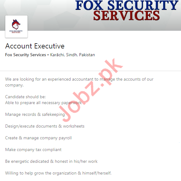 Accounts Executive Jobs in Fox Security Services