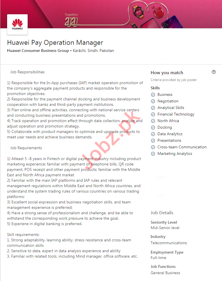 Operation Manager Jobs in Huawei Consumer Business Group