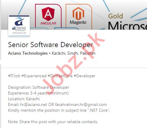 Aciano Technologies Private Limited Karachi Jobs 2020