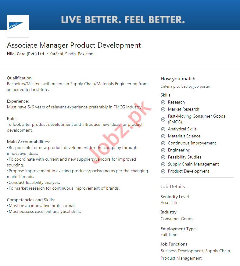 Associate Manager Product Development Job 2020 in Karachi