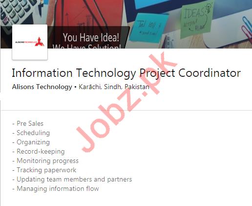 Alisons Technology Karachi Jobs for IT Project Coordinator