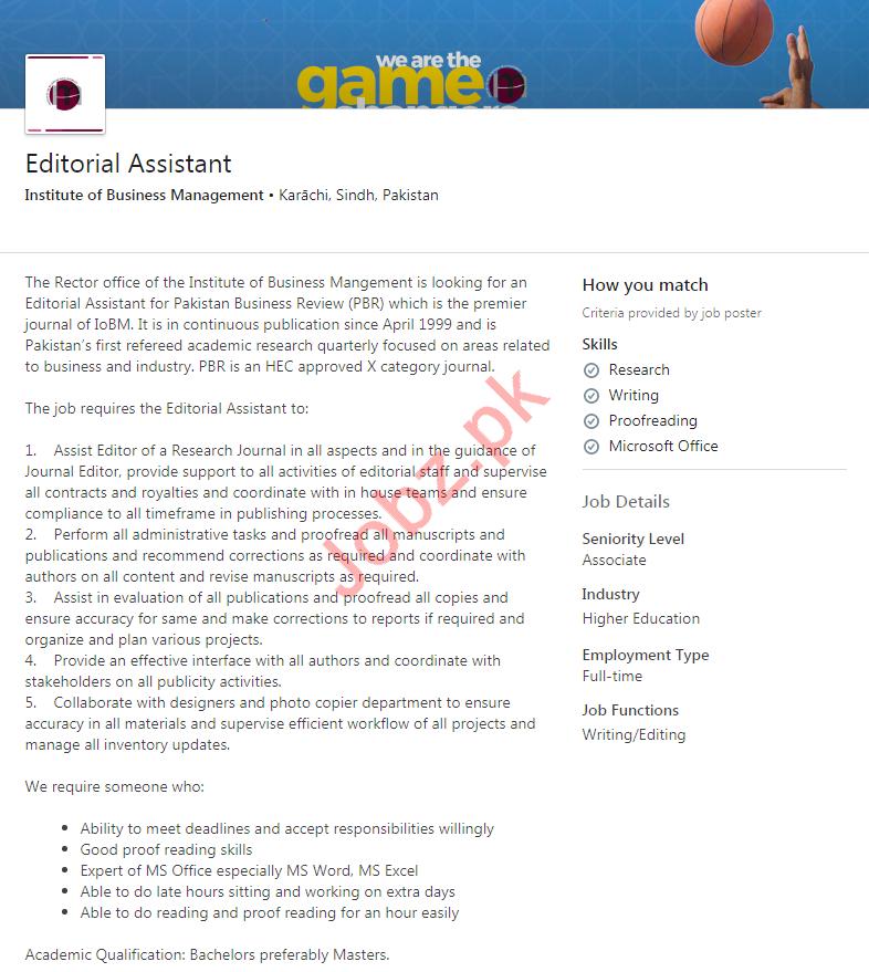 Editorial Assistant Job 2020 in Karachi