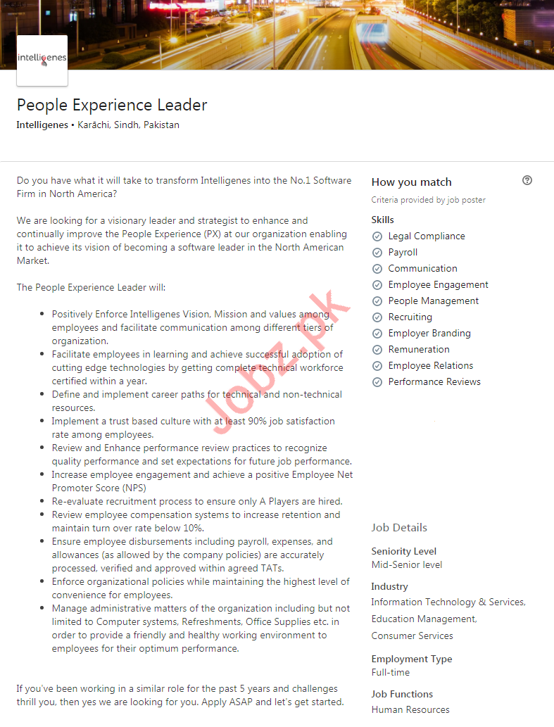 People Experience Leader Job 2020 in Karachi