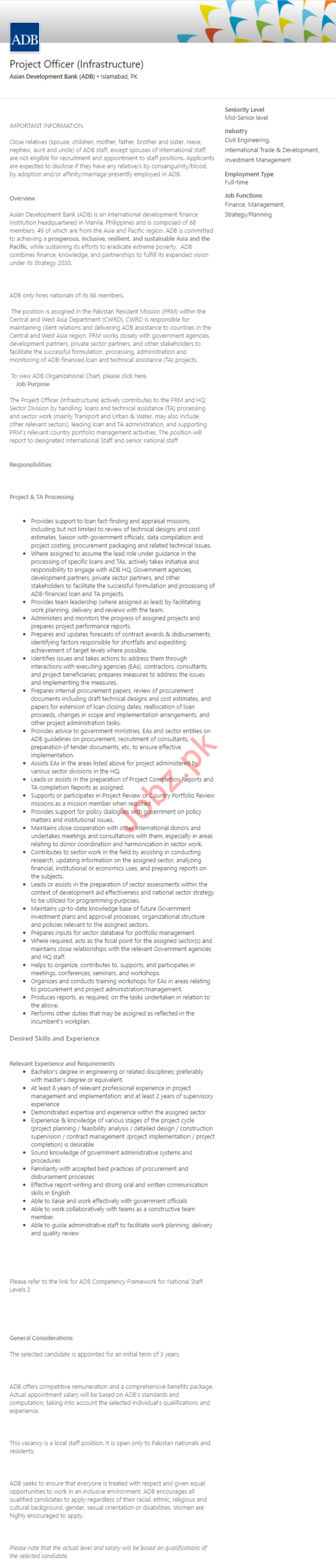 Asian Development Bank ADP Islamabad Jobs 2020