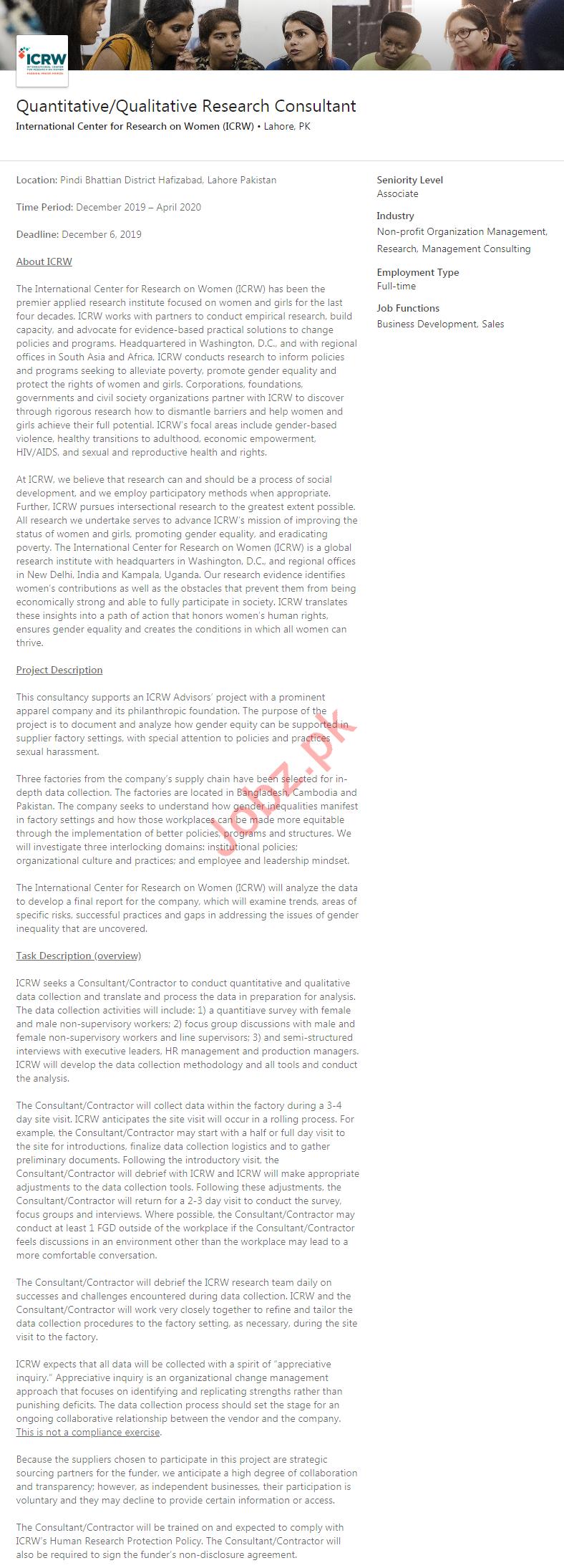 Quantitative & Qualitative Research Consultant Job 2020