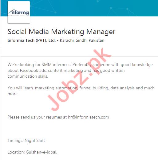 Informia Tech Private Limited Karachi Jobs
