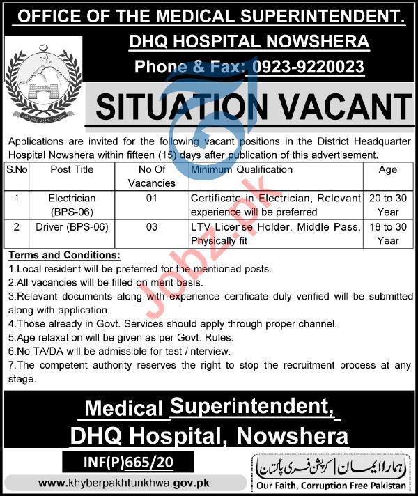 DHQ Hospital Nowshera KPK Jobs 2020
