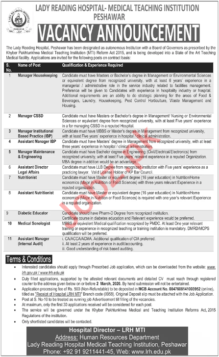 Lady Reading Hospital LRH Peshawar KPK Jobs 2020