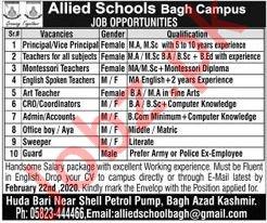 Allied Schools Bagh Campus Jobs 2020
