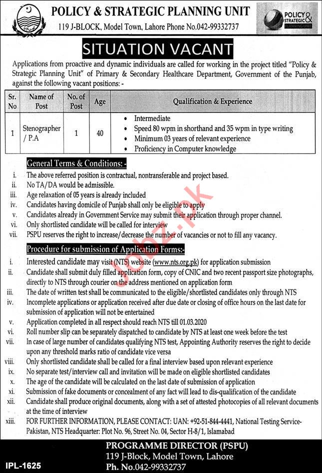 Policy & Strategic Planning Unit Lahore Jobs via NTS for PA