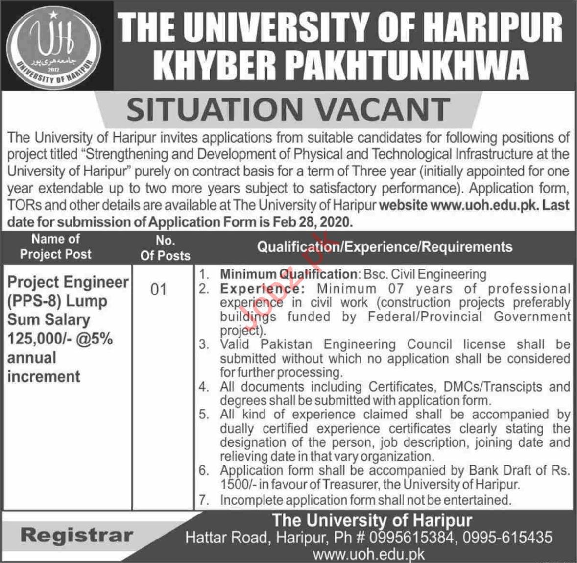 The University of Haripur KPK Jobs 2020