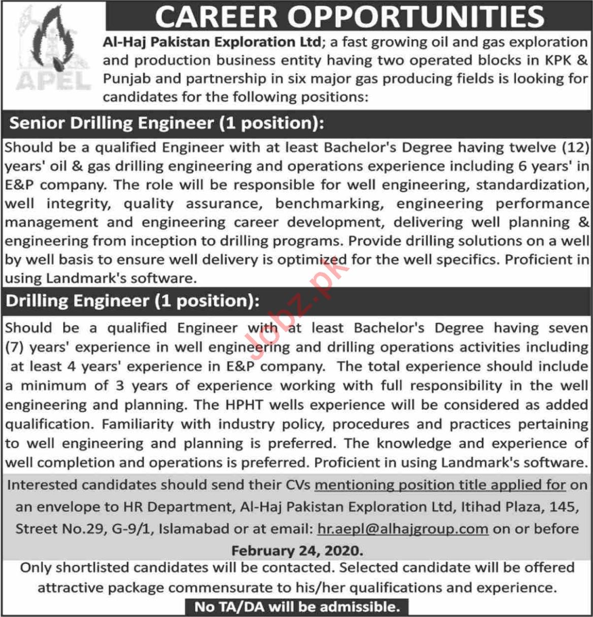 Al Haj Pakistan Exploration Limited Jobs 2020