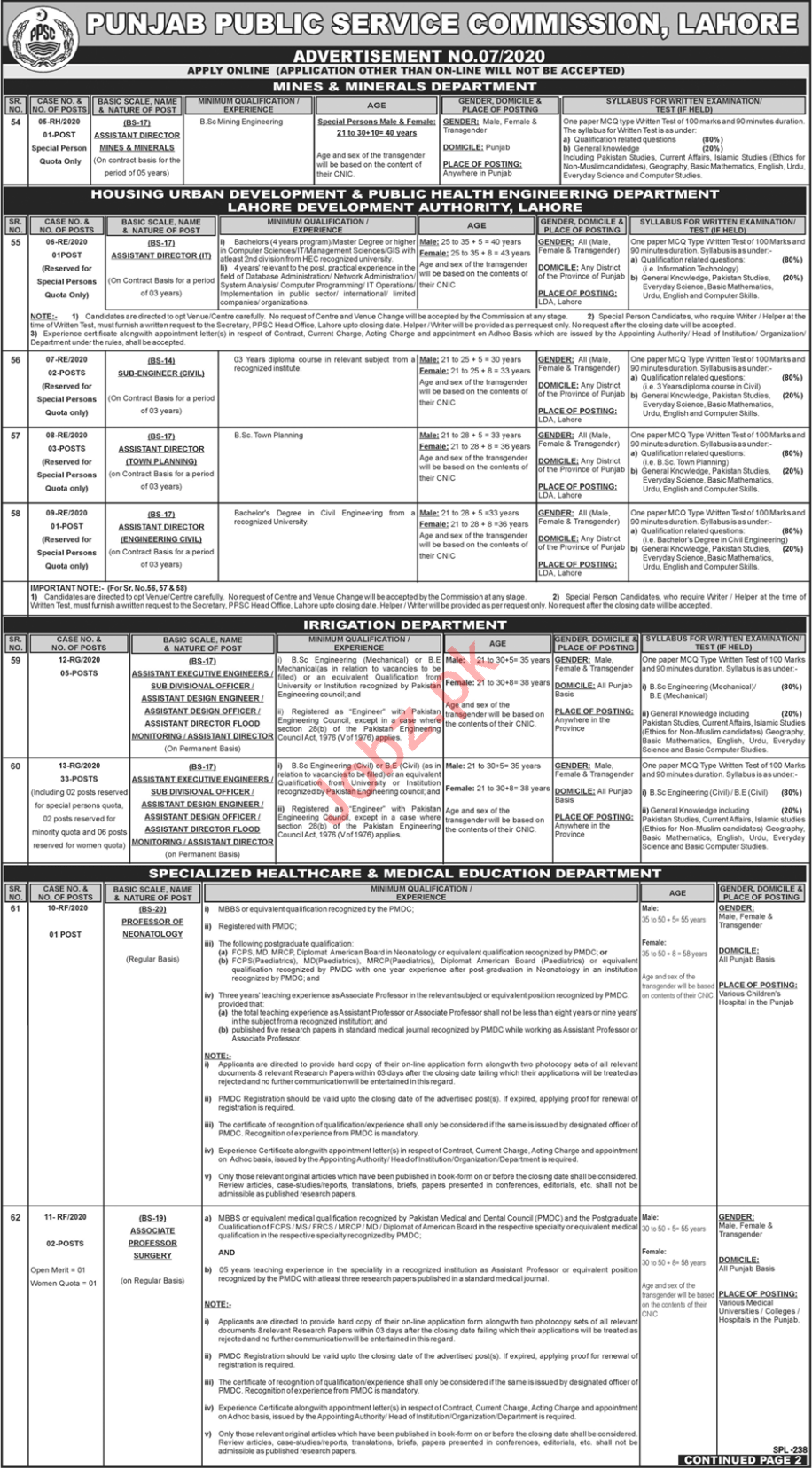 Punjab Public Services Commission PPSC 16 February Jobs 2020