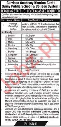 Garrison Academy Kharian Cantt Jobs 2020
