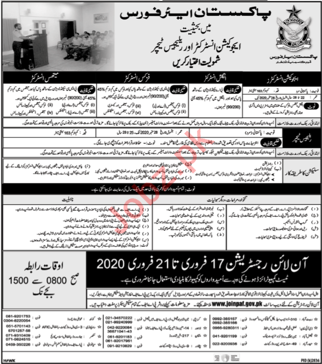 Pakistan Air Force PAF Lahore Jobs 2020