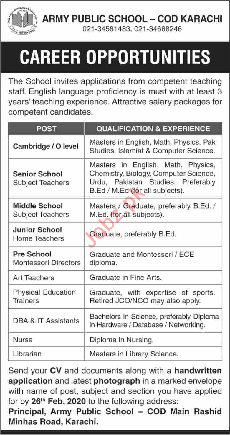 Army Public School APS COD Jobs 2020