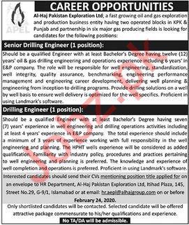 Al Haj Pakistan Exploration Limited Jobs 2020 in KPK