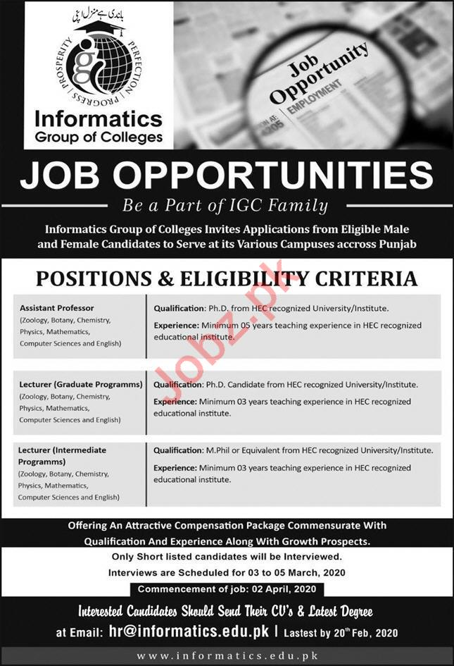 Informatics Group of Colleges Lahore Jobs 2020