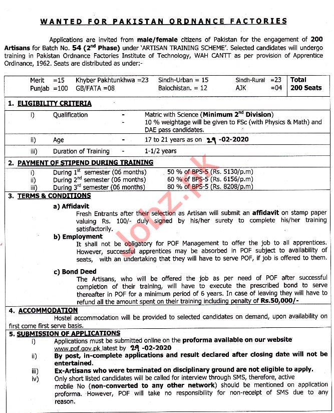Pakistan Ordnance Factories POF Jobs 2020