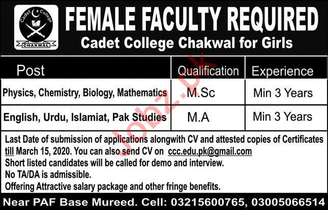Cadet College Chakwal Jobs 2020