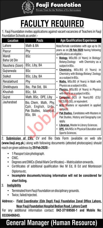 Fauji Foundation Jobs 2020 in Lahore for Teaching Staff
