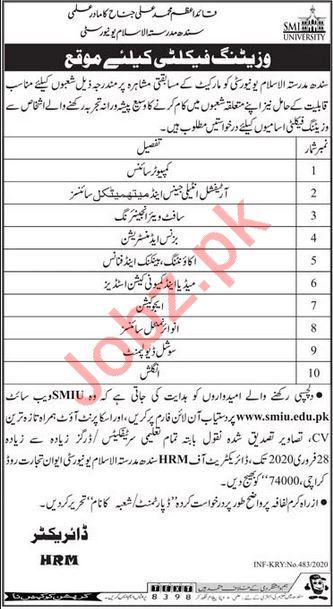 Sindh Madressatul Islam University SMIU Jobs 2020