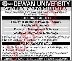 SBB Dewan University Jobs 2020 in Karachi