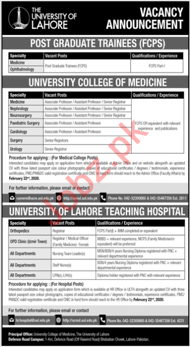 The University of Lahore UoL PG Trainees FCPS Jobs 2020