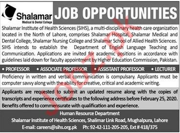 Shalamar Institute of Health Sciences SIHS Teaching Jobs