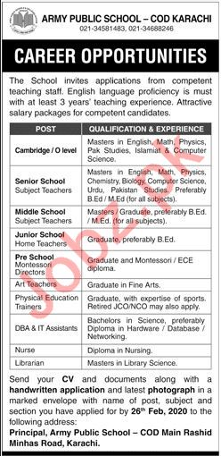 Army Public School COD Karachi Jobs 2020