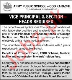 Army Public School APS Karachi Jobs 2020